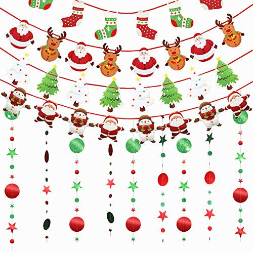 3 Pieces Glitter Green Red Circle Dots Star Garland Kit and 4 Christmas Banners Flags Hanging Bunting Circle Dots Star Garland Streamer Christmas Door Wall Window Hanging for Xmas Party Wedding Decor