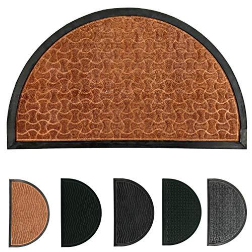 LucaHome - Felpudo Entrada casa de CIPRO Antideslizante, Felpudo, fácil Limpieza, Felpudo Absorbente alcolchado, Fepudo para Exterior e Interior (Marron Geometrico Semiluna, 45x75 cm)