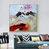 yaonuli Textura Abstracta Pintura al óleo sobre Lienzo Lienzo Moderno Pintura de Arte Decorativo para la decoración de la Pared del hogar Pintura sin Marco 50x50 cm