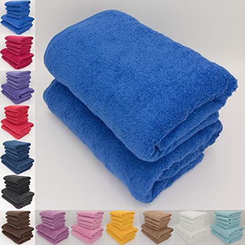 Just Contempo Set di asciugamani assorbenti, al 100% in cotone naturale da 500 g/mq, di qualità alberghiera, da 70 cm x 140 cm, Cotone, Blu classico., 2 x Bath Towels (70x140 cm)