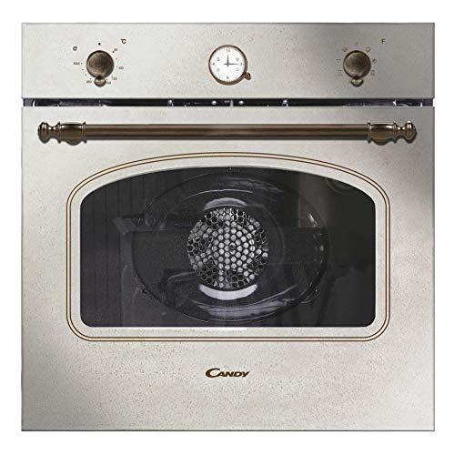 Candy FCC604AV/E Horno vintage multifunción, 65l , reloj analógico, puerta doble cristal, ventilador tangencial, A+, marfil y dorado