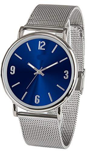 Reloj de pulsera para hombre o mujer, acero inoxidable, con correa de malla