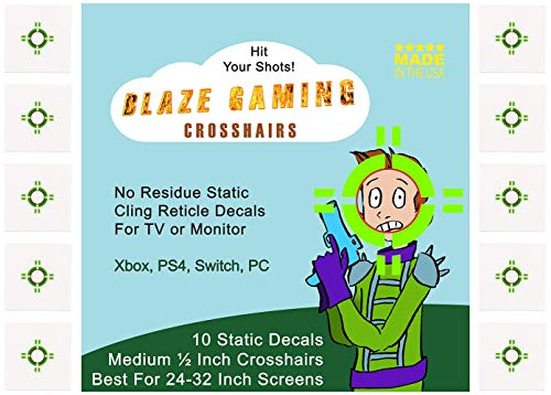 Blazing Gaming Crosshairs Medium 1/2 Inch Aim Assist for 24 to 32 Inch Monitors and TV Screens - 10 Pack of Compact Bold Green High Visibility Static Cling Decals