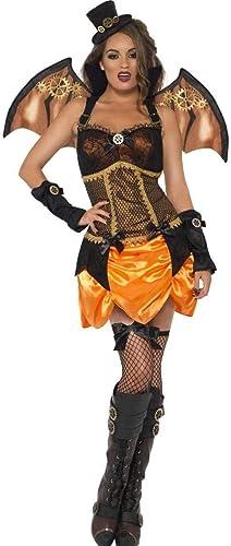 Fancy Me Damen 4 Stück Luxus Sexy Steampunk Vampir Fledermaus mit Flügeln & Hut Halloween Kostüm Kleid Outfit UK 8-18 - Schwarz 12-14