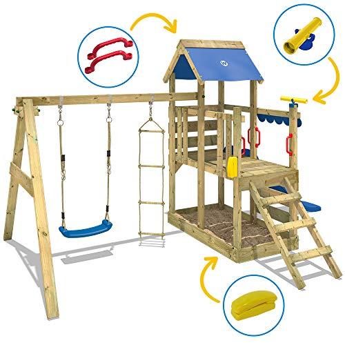 WICKEY Spielturm Klettergerüst TurboFlyer mit Schaukel & blauer Rutsche, Kletterturm mit Sandkasten, Leiter & Spiel-Zubehör - 3