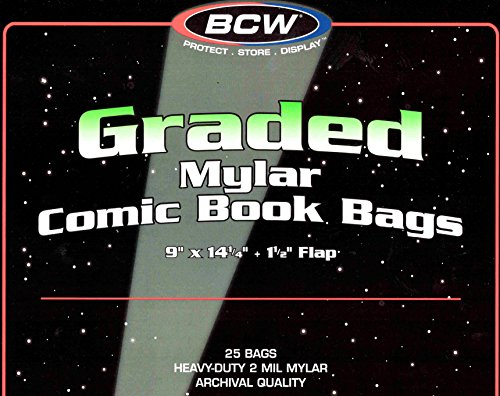 BCW 25 Graded Mylar Comic Book Bags - Lasts Indefinitely