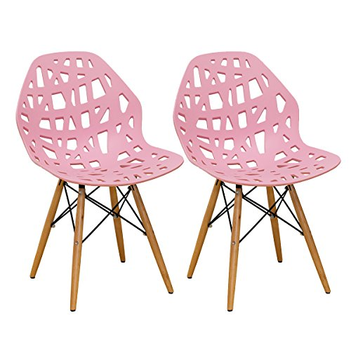 Mod Made Modern Stencil Cut Out Eiffel Dining Side Chair (Set of 2), Pink