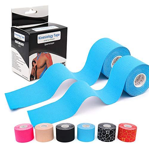 LEANKING Kinesiologie Tape in verschiedenen Farben (5m x 5cm) Kinesiotapes wasserfest und elastisch - Physiotape Kinesiotape Sporttape - Kinesio Tapes (2 Blau)