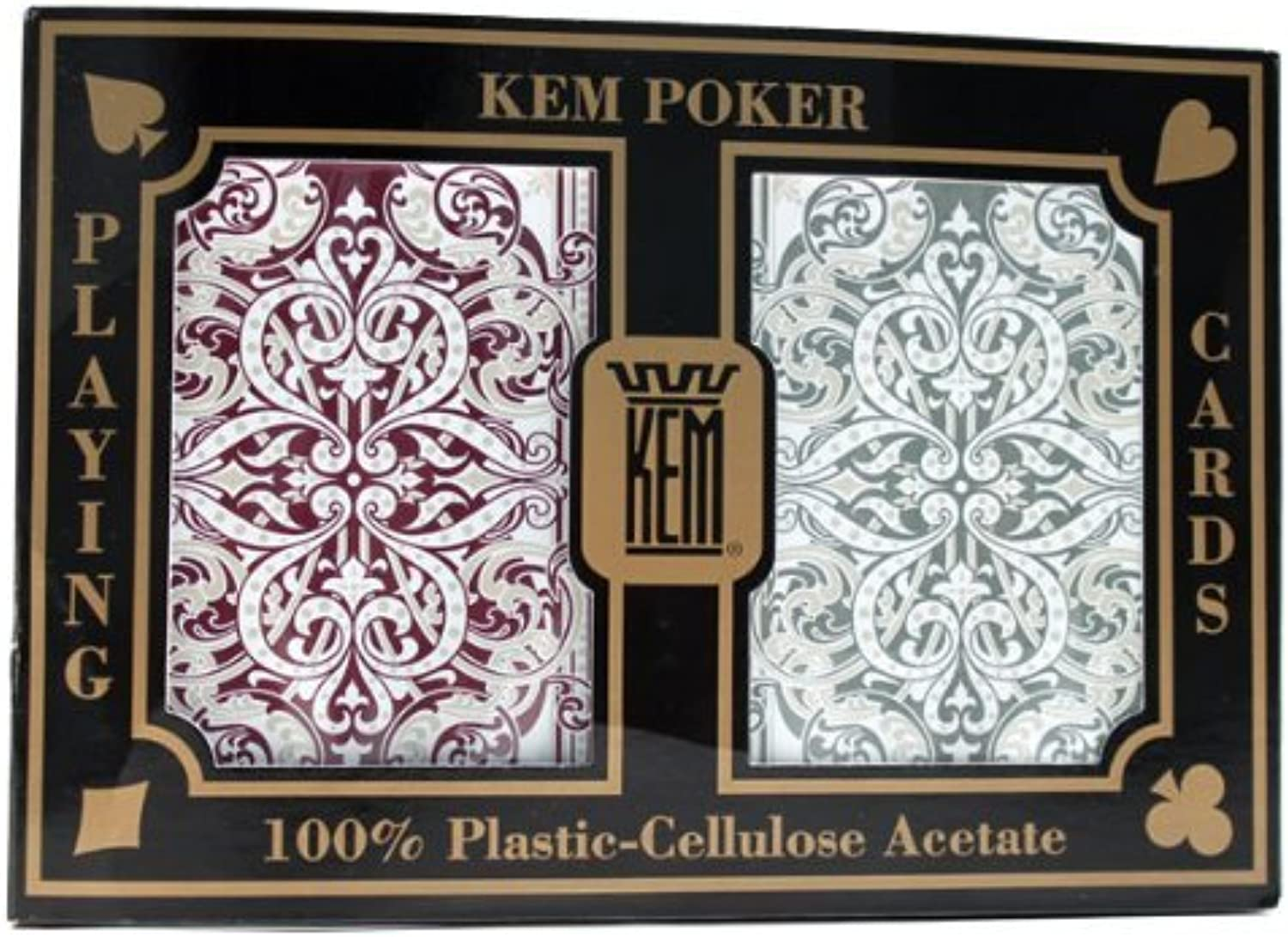 2 Deck Set of KEM Jacquard 100% Plastic Playing Cards  Comes with 2 Free Cut Cards