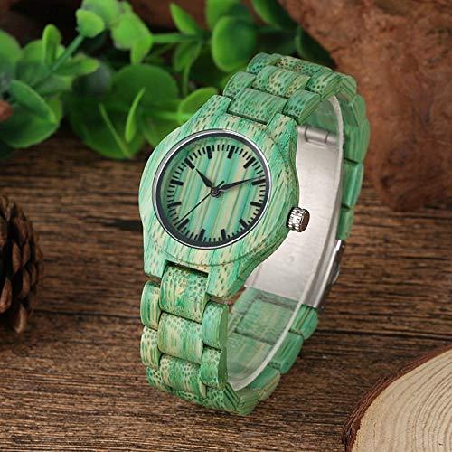 UIOXAIE Reloj de Madera Reloj de Madera de bambú Verde para Mujer, Reloj Femenino de Moda, Pulsera de Madera Natural Ajustable, Relojes de Pulsera de Cuarzo, Deportes