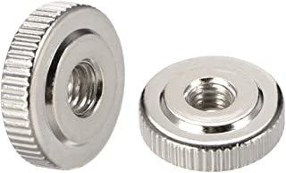 MroMax Round Knurled Thumb Nuts Conector Lock Adjusting Nuts M4 Female Threaded Thin Type Silver Pack of 20 Nickel Plated