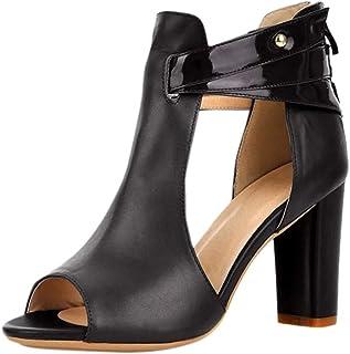 Alaso Sandales Femmes Mode Bout Ouvert Boucle Talons Hauts Sandals Compensé Plateforme Été Escarpin Style Romain Cheville ...