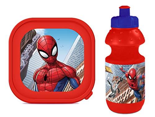 Marvel Spiderman Pausen-Set Brotdose + Trinkflasche Lunch-Set