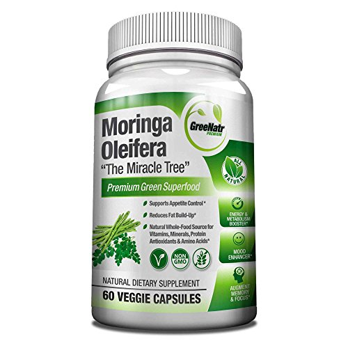 Pure Moringa Oleifera Leaf Extract Veggie Capsules-1000 mg. Natural Weight Loss Supplement, Energy and Metabolism Booster - Mood, Memory and Focus Enhancer. Premium Green Superfood. 60 Count