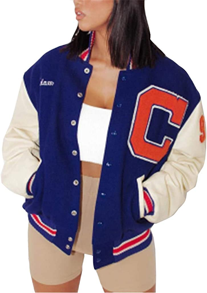 Onsoyours Bomber Jacket Giacca Donna Giacca Sportiva Jackets Vintage Streetwear con Tasca Outwear Cerniera Giacca College Sweat Jacket