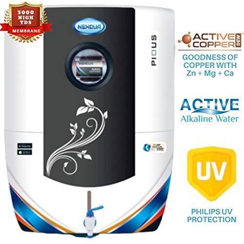 Nexqua Dew Alkaline RO+UV+UF+TDS Controller Water Purifier with High 3000 TDS Membrane (Black)