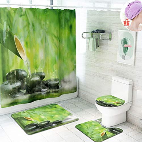 Enhome Badteppich Set 4teilig, Badvorleger Duschvorleger Bad Fußmatten Badezimmermatten Set mit...
