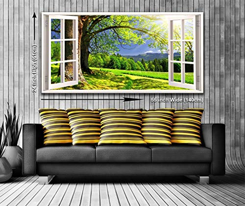 Country Landscape View from a Window Panoramic Canvas Wall Art Print Framed XXL 55 inch x 24 inch Over 4.5 ft Wide x 2 ft High Ready to Hang
