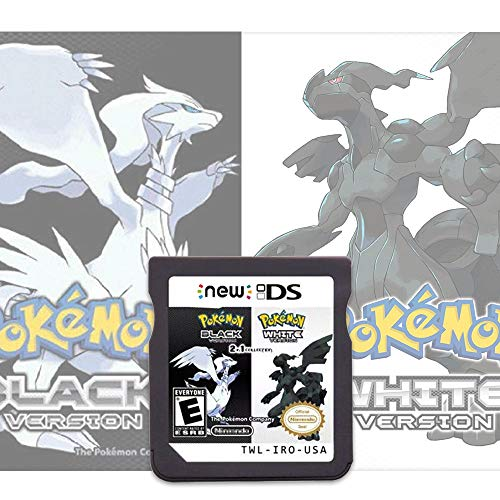 Pokemon Black&White Version Games Card 2 in 1 Compatible with Nintendo DS/2DS/3DS/DSI/2DSXL/3DSXL (Not Support Above Version 11.0) - Reproduction Version