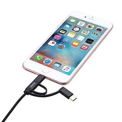 POWERADD Multi USB Ladekabel 3 in 1 Lightning + Micro USB + USB Type C Datenkabel 1m Mehrfach Kabel mit MFI Zertifert für iPhone Samsung Galaxy Huawei und alle Android Handys