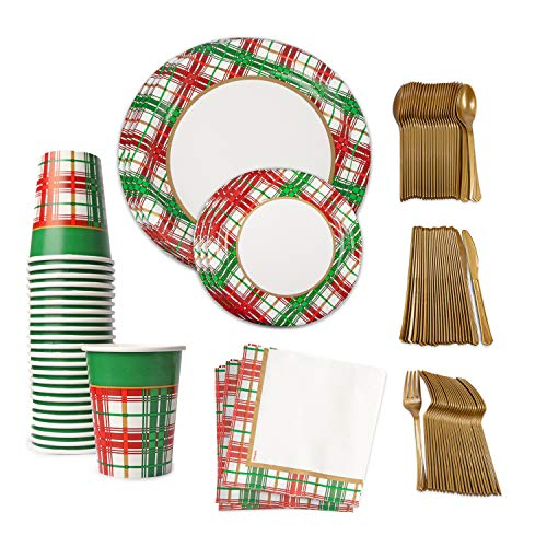 Christmas Plaid Tablesettings for 24, Includes 10 in and 7in Christmas Paper Plates, Christmas Napkins, Gold Plastic Silverware and 9 oz Paper Cups, Dinnerware for Christmas Party