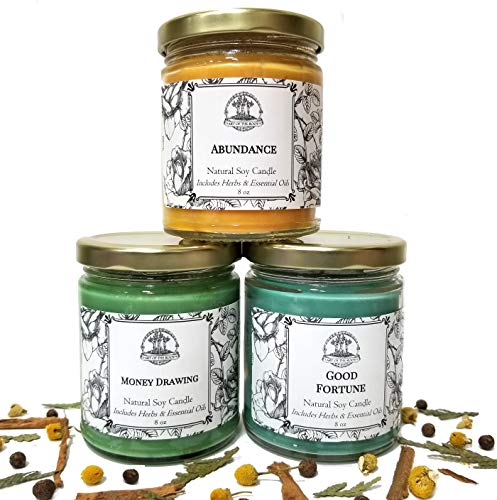 Money Candle Spell Set for Abundance, Prosperity, Success & Wealth for Wiccan, Pagan & Magick Rituals