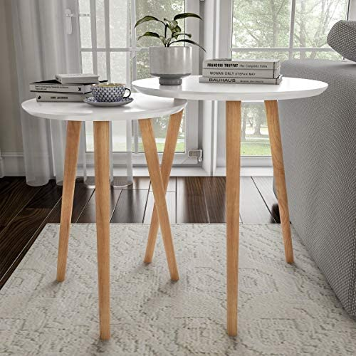 Best Home Decor Accent Table with Circular Top (White, Set of 2)