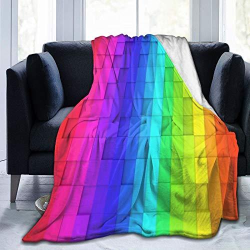 QIUTIANXIU Mantas para Sofás de Franela 150x200cm Visión estereoscópica Convexa cóncava de los Cuadrados geométricos de la Pendiente del Color de Morden Manta para Cama Extra Suave
