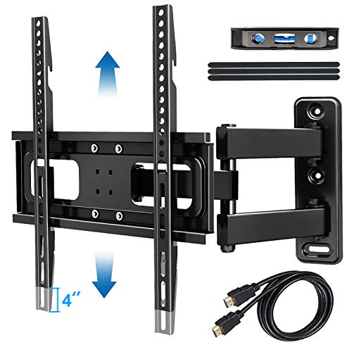 Full Motion TV Wall Mount Bracket with Level & Height Adjustment,Tilts and 90 ° Rotation Single Articulating Arm,TV Bracket for Most 32-60 Inch Flat Curved TVs up to 77 lbs,Max VESA 400x400