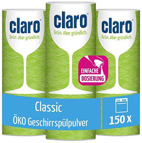 Claro Classic Geschirrspülpulver - Biologisch Abbaubar - 3x 900-g-Behälter