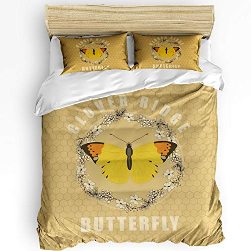 wanxinfu 3 Piece Duvet Cover Set Queen Size for Adults, Boys, Girls, Kids, Lightweight and Soft Bedding, Flower and Butterfly Brushed Microfiber Quilt Cover Set, Garland Circle Geometry