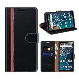 COODIO Xiaomi Mi A2 Hülle Leder, Xiaomi Mi A2 Kapphülle Tasche Leder Flip Cover Schutzhülle Rugged für Xiaomi Mi A2 Handyhülle, Schwarz/Rot
