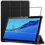 ebestStar - kompatibel mit Huawei MediaPad T5 10 Hülle Tablet 10.1 Smart Cover [Ultra Dünn] Schutzhülle Etui Ständer Hülle, Schwarz + Panzerglas Schutzfolie [T5 10.1: 243 x 164 x 7.8mm, 10.1'']