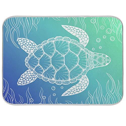 Oarenol Sea Turtle Art Dish Drying Mat Animal Ocean Large 18 x 24 Inch Reversible Drying Mat for Kitchen Counter