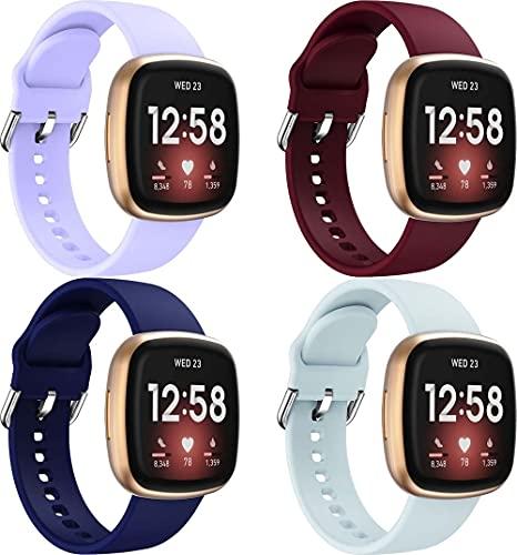 Classicase Repuesto de Correa de Reloj de Silicona Compatible con Fitbit Versa 3 / Fitbit Sense, Caucho Fácil de Abrochar para Relojes y Smartwatch (4-Pack J)