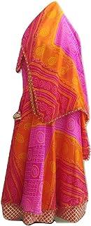 SNEH Women's Kota Silk Jaipuri Bandhani/Bandhej Skirt with Bandhej Dupatta (SN82158, Multicolour, Free Size)