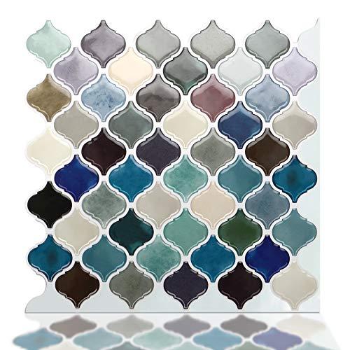STICKGOO Pegatinas de azulejos autoadhesivos 3D, Decorativos Adhesivos para Azulejos Pegatina de Pared, Impermeable Azulejos de Gel, Diseño de vidrio con Motivo, para Baño y Cocina (Verde mixto)
