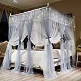 Joyreap 4 Corners Post Canopy Bed Curtains for Girls - Grey & White Cozy Drape Netting - Cute Princess Style Bedroom Decoration Accessories (59