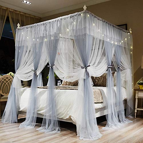 Joyreap 4 Corners Post Canopy Bed Curtains for Girls - Grey & White Cozy Drape Netting - 4 Openings Mosquito Net - Cute Princess Style Bedroom Decoration Accessories (Gray, 59' W x 78' L,Full/Queen)
