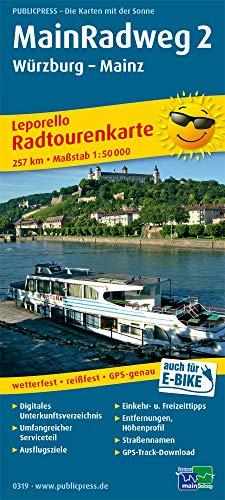 MainRadweg 2, Würzburg - Mainz: Leporello Radtourenkarte mit Ausflugszielen, Einkehr- & Freizeittipps, wetterfest, reissfest, abwischbar, GPS-genau. 1:50000 (Leporello Radtourenkarte: LEP-RK)