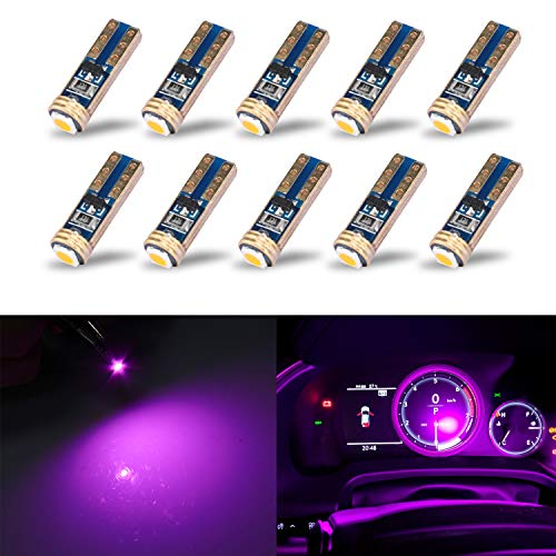 KISLED Extremely Bright 3030 Chipsets Wedge T5 74 73 37 Bulb Lamp Replacement for Car Interior Footwell Glove Box Instrument Indicator Panel Lights, Purple