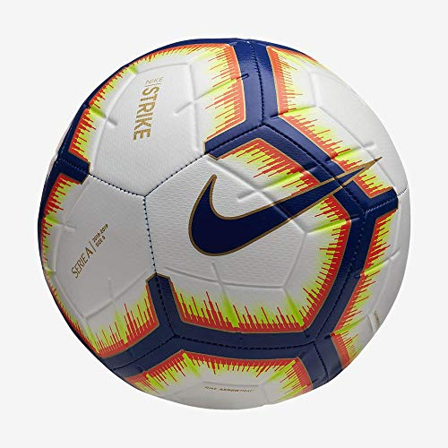 Nike Pallone Strike Serie A, Calcio Unisex Adulto, Bianco/Bright Mango/Royal Blue//Royal Blue, 5