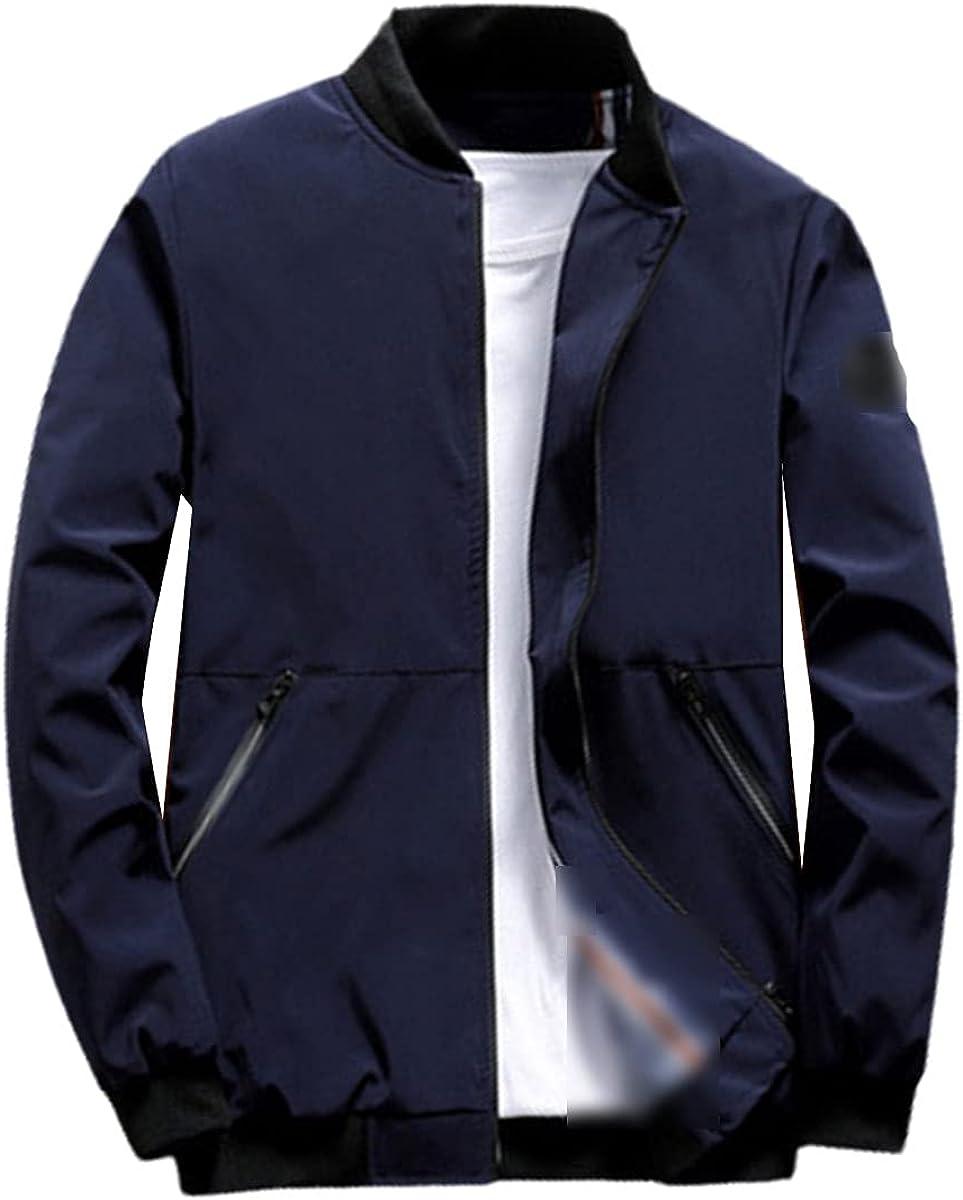 Fall Men's Bomber Jacket Casual Windbreaker Jacket Men's Stand-Up Collar Slim Baseball Jacket Clothing