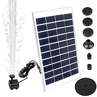 Dinors Solar Fountain Pump,New Upgraded Mini Solar Powered Bird Bath Fountain Pump 5W Solar Panel Kit Water Pump,with 6 Different Spray Pattern Heads, for Pond, Pool, Garden, Fish Tank, Aquarium,Patio