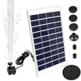 Solar Fountain Pump,Feeke New Upgraded Mini Solar Powered Bird Bath Fountain Pump 5W Solar Panel Kit Water Pump,with 6 Different Spray Pattern Heads, for Pond, Pool, Garden, Fish Tank, Aquarium,Patio