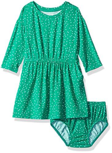 Gymboree Baby Girls Long Sleeve Casual Knit Dress, Emerald Green, 3-6 Mo