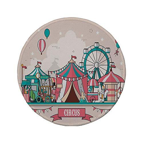 Rutschfreies Gummi-Rundmaus-Pad Zirkus Zirkusanlagen Landschaft in flachen Luftballons im Designstil Kinderpark-Illustration mehrfarbig 7.9