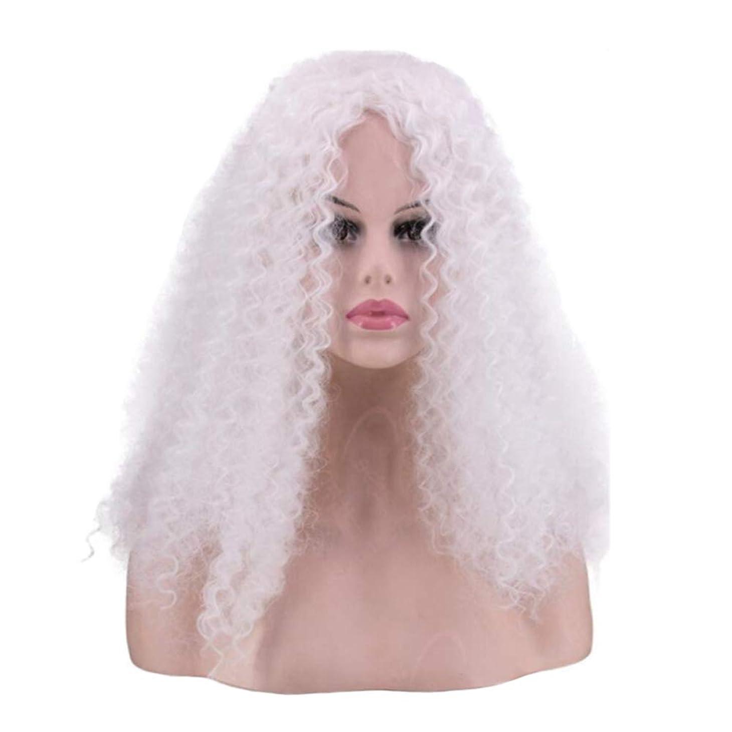 姉妹コーン修士号かつら - ファッションロングロール高温シルクウィッグパーティーロールハロウィーン40cm白 (色 : 白, サイズ さいず : 40cm)