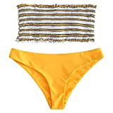 ZAFUL Damen Zweiteilige Gepolsterte Bikini Sets Gestreiftes Bandeau mit Rüschen Bademode Sommer (Gelb, L)