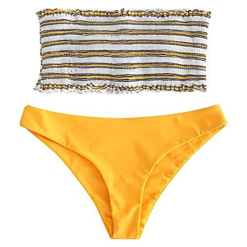 ZAFUL Damen Bikini-Set Gestreiftes Bikini Set mit Rüschen Bikiniset Bandeau BademodeBademode Swimwear Swimsuit Helles Gelb Small